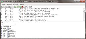 Screenshot Evidencia účtov
